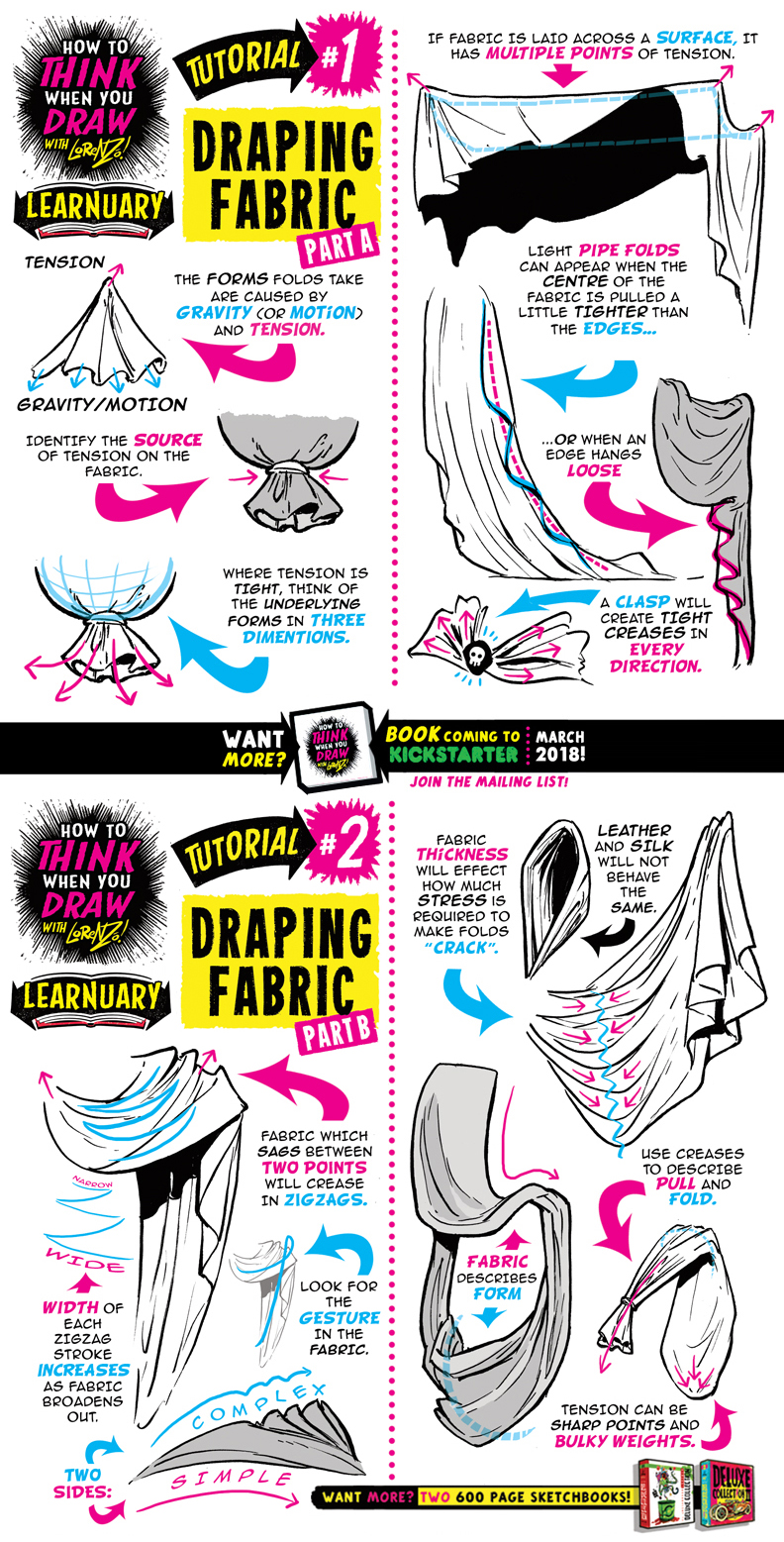 How to draw DRAPING FABRIC tutorial by STUDIOBLINKTWICE