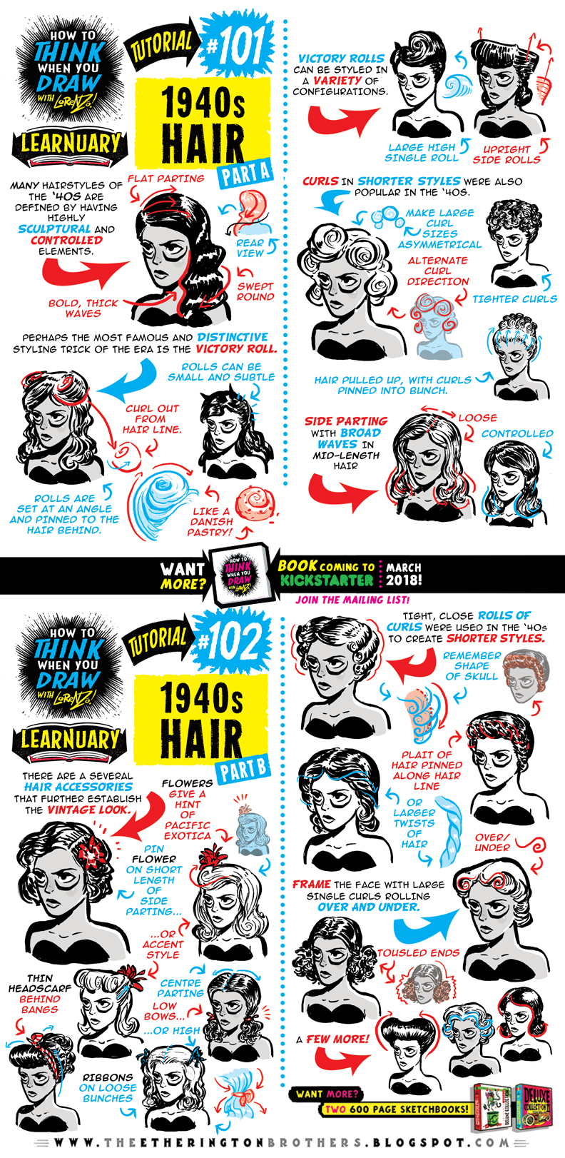 How to draw 1940s HAIR tutorial by STUDIOBLINKTWICE