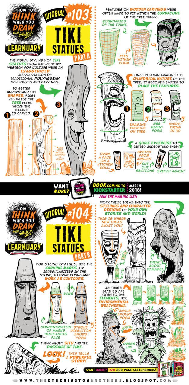 How to draw TIKI STATUES tutorial by STUDIOBLINKTWICE