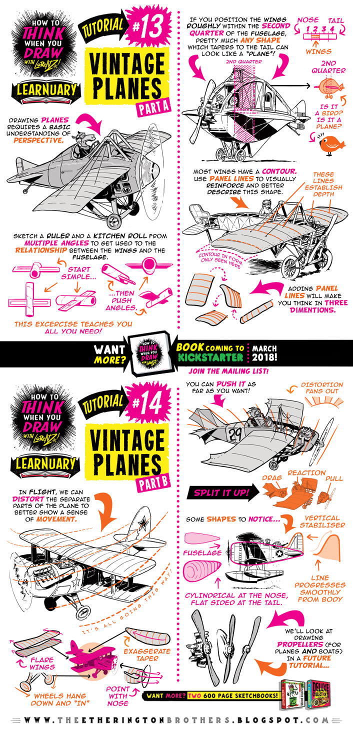 How to THINK when you draw VINTAGE PLANES tutorial by STUDIOBLINKTWICE
