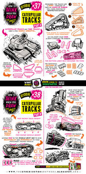 How to draw CATERPILLAR and TANK TRACKS tutorial