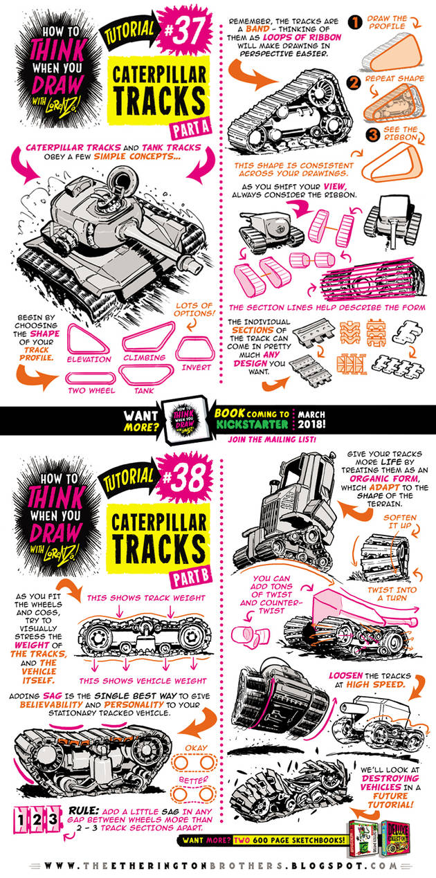 How to draw CATERPILLAR and TANK TRACKS tutorial by