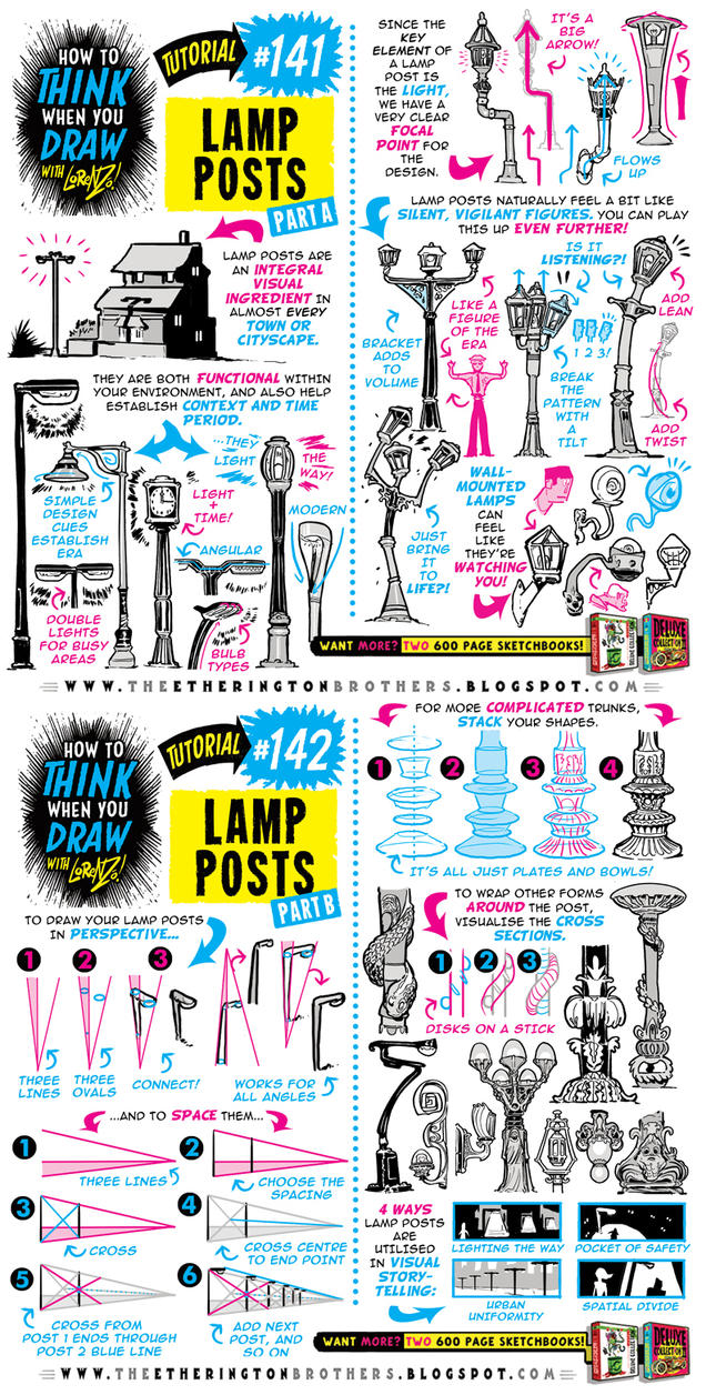 How to draw LAMP POSTS tutorial by STUDIOBLINKTWICE