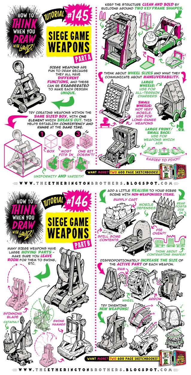 How to draw SIEGE WEAPONS tutorial by STUDIOBLINKTWICE