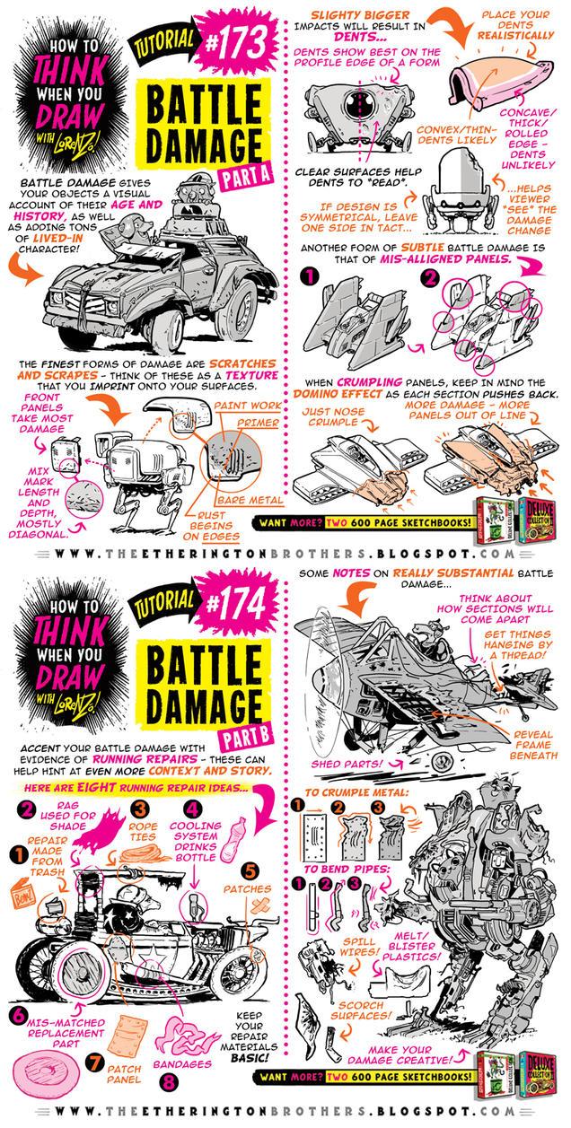 How to draw BATTLE DAMAGE tutorial by STUDIOBLINKTWICE
