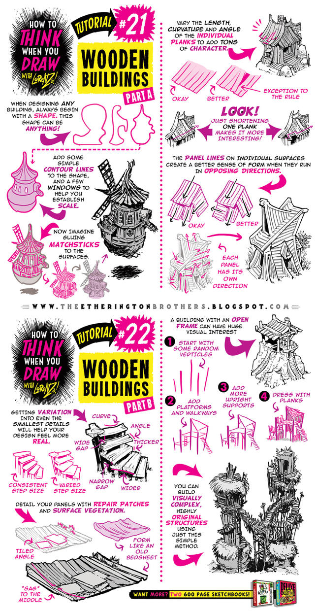 How to draw WOODEN BUILDINGS tutorial by STUDIOBLINKTWICE