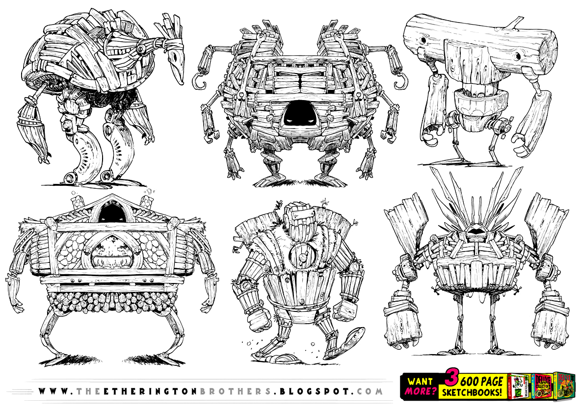 6 WOODEN ROBOT references! by EtheringtonBrothers