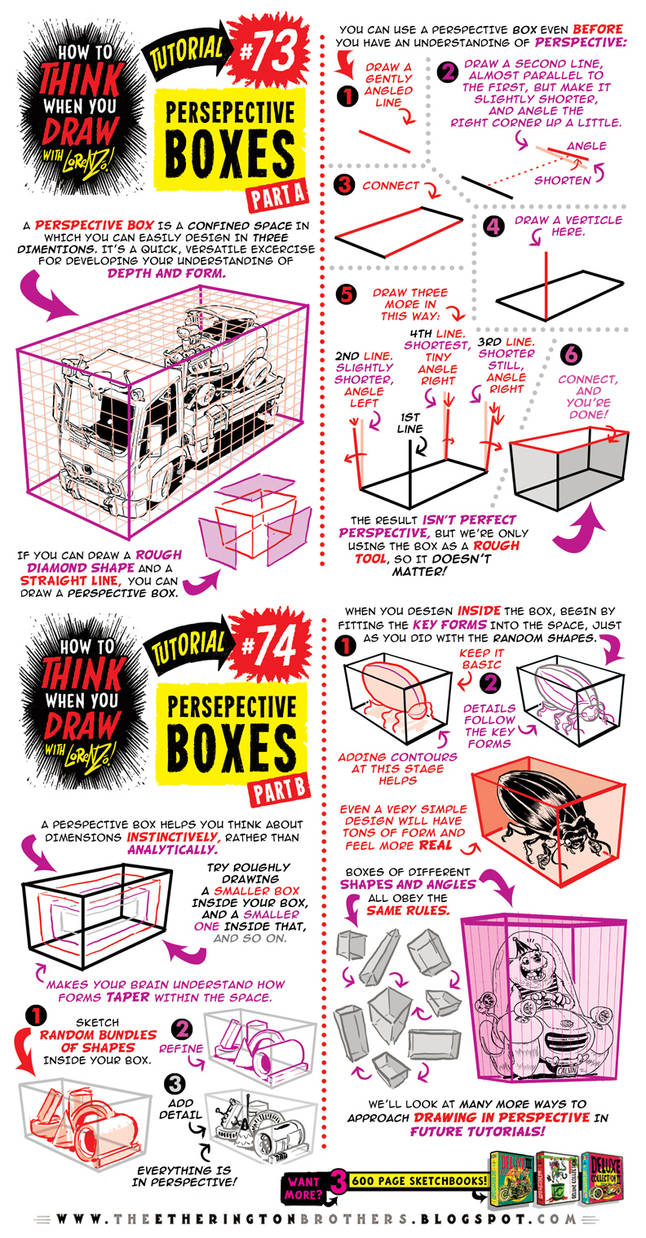 How to THINK when you draw PERSPECTIVE BOXES! by EtheringtonBrothers