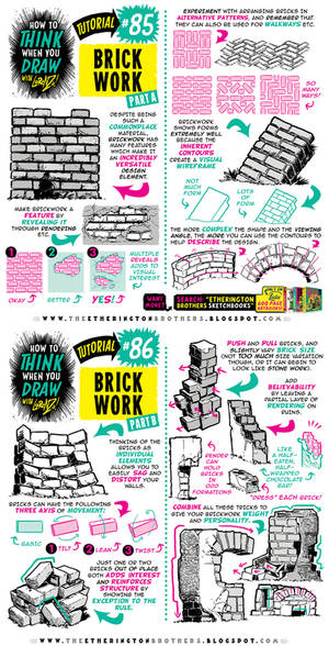 How to THINK when you draw BRICKWORK tutorial!