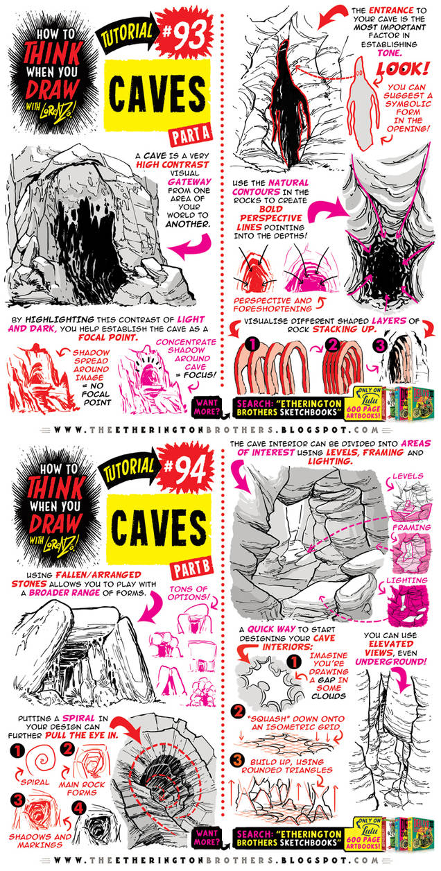 How to THINK when you draw CAVES tutorial!