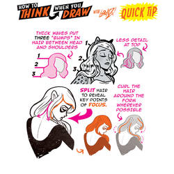 How to THINK when you draw STYLISED HAIR QUICK TIP