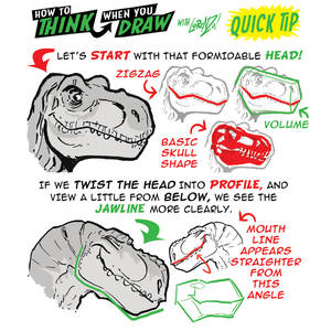 How to THINK when you draw T-REX HEADS QICK TIP!