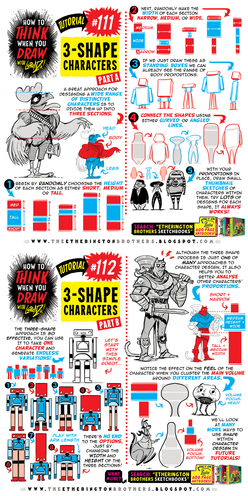 How to THINK when you draw 3-SHAPE CHARACTERS! by