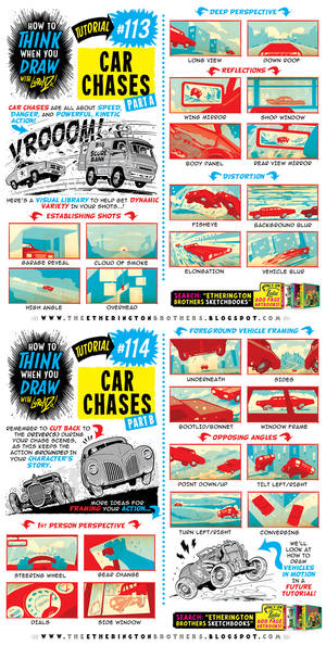 How to THINK when you draw CAR CHASES tutorial!