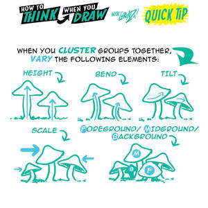 How to THINK when you draw MUSHROOMS QUICK TIP!