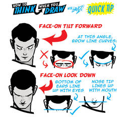 How to THINK when you draw HEADS LOOKING DOWN TIP!