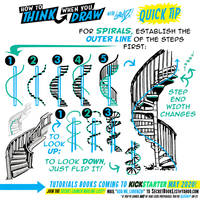 How to THINK when you draw SPIRAL STAIRCASES TIP!