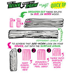 How to THINK when you draw AGED WOOD QUICK TIP!