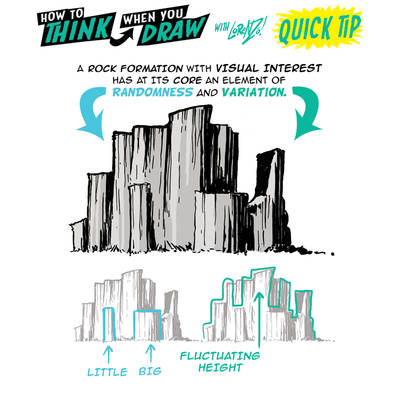 How to THINK when you draw ROCK FORMATIONS TIP!