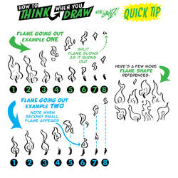 How to draw SMALL FLAMES GOING OUT Quick TIP!