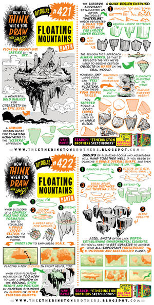 How to THINK when you draw FLOATING MOUNTAINS!
