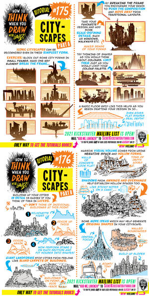 How to THINK when you draw CITYSCAPES tutorial!