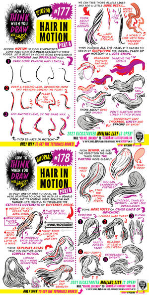 How to THINK when you draw HAIR IN MOTION!