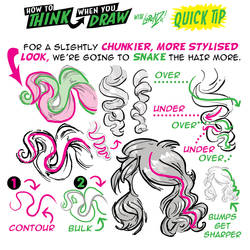 How to THINK when you draw BIG CURLS quick tip!