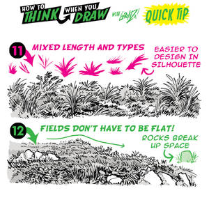 How to THINK when you draw FIELDS of GRASS TIP!