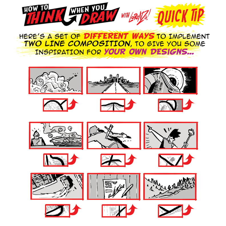 How to THINK when you draw TWO-LINE COMPOSITION!!!