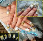 Blue Gold Glitter Nail Art