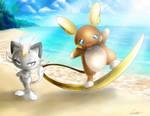 Meowth and Raichu Alola! by MistressAinley