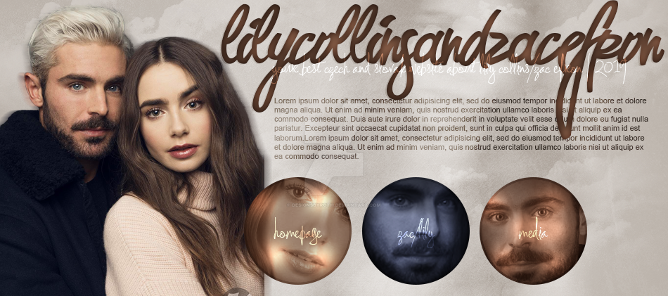 free header ft. LILY COLLINS AND ZAC EFRON by designsbyroth