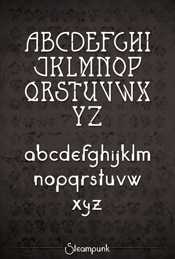 Steampunk alphabet by Naistolenn
