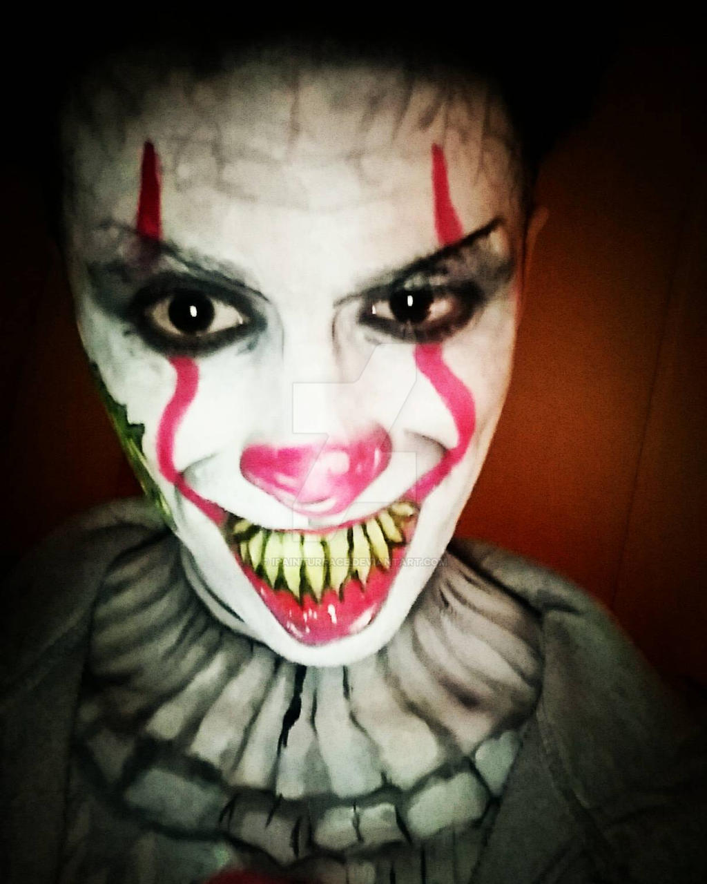 it clown halloween make up  by ipainturface