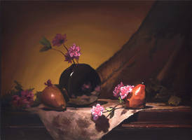 golden pears and roses by David-McCamant