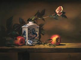 wht porcelain w apples n rose by David-McCamant