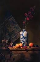 blue n wht vase w oranges by David-McCamant