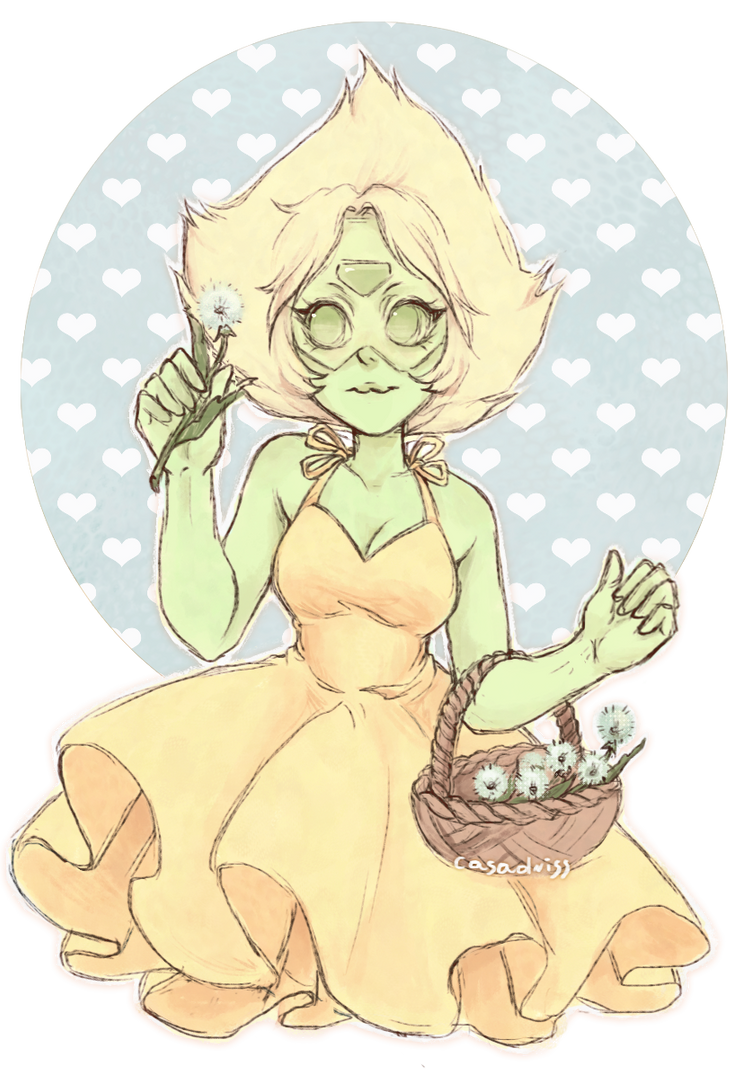"Peridot from the new episode, ""Reunited"" I loved her outfit so much I HAD TO draw it ;; ♥ Did you watch the Steven Bomb, guys? What do you think about it? O:"