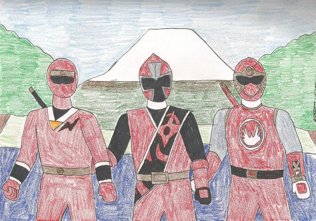 Red Ninja Trio by Kronos2501