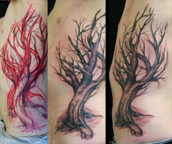 Tree on ribs wip by paintedpeople on deviantart for Dead tree tattoos
