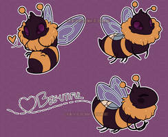bees sticker set (on redbubble!)