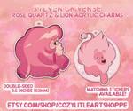 SU - Rose Quartz n Lion Charms by GirlWithTheGreenHat