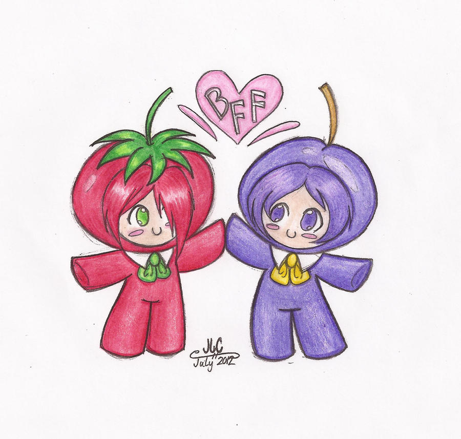 Tomato and Grape Head, BFF's by HirokoTheHedgehog