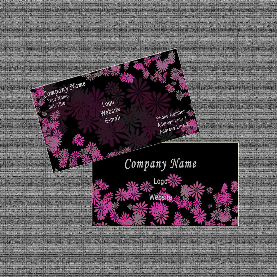 Business Card Design: Black/Pink Abstract Floral by Carmenole on ...
