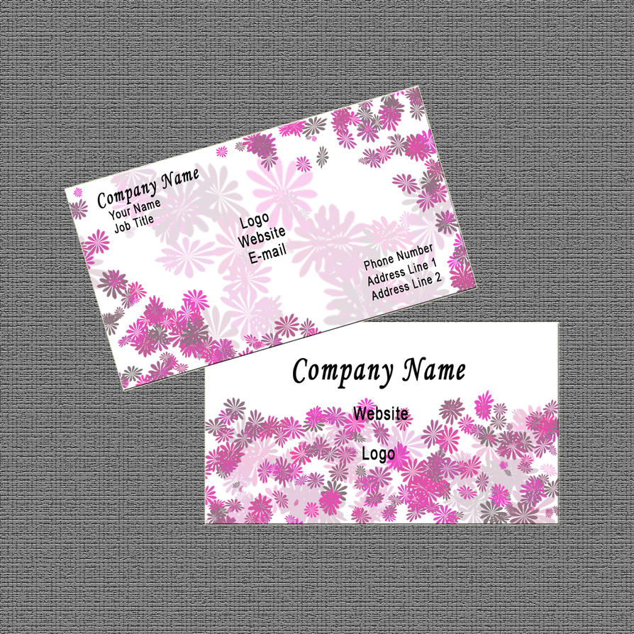 Business Card Design: White/Pink Abstract Floral by Carmenole on ...