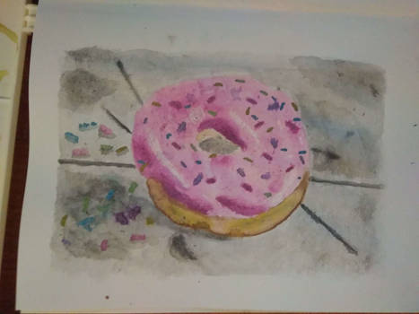 First try with brushmarkers- a pink donut!