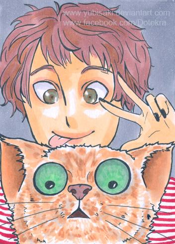 Weird cat stare ACEO by Yubisaki