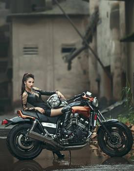 leather motor girl