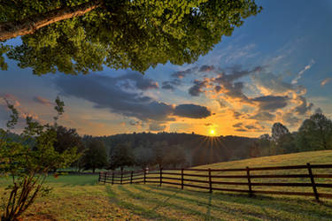 Sunset over the pasture